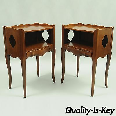 Pair of John Widdicomb Country French Provincial Cherry Nightstands End Tables