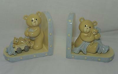 Bookends, Nursery, Baby Gund Baby Boy Blue, Teddy Bears Bookends, Good Condition