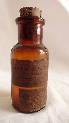 Vintage Merck LITHIUM Apothecary Medicine Pharmacy Brown Bottle Cork Top Label