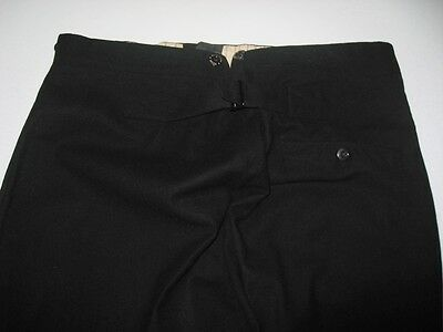 Vintage Cinch Back Suspender Button Fly Black Wool Pants Size 36 X 30.5
