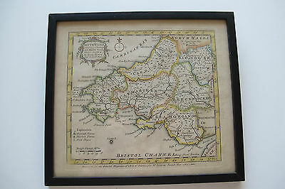 Original Antique Map Of South Wales Eman: Bowen For W.owen At Temple Bar 1762