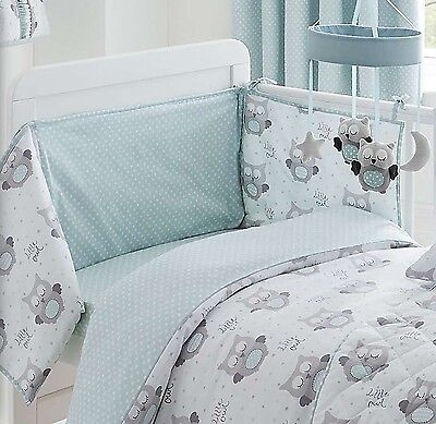Nursery Baby Boy Bumper And Coverlet Quilt Cot Owl White Grey Duck Egg Blue