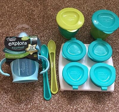 Tommee Tippee Weaning Set Pop Up Pots, Spoons And Cup