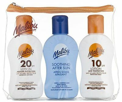 Malibu Travel Pack Sun Lotion SPF 10, 20 And Soothing After Sun 100ml