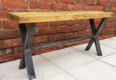 Kitchen bench pine seat with metal X frame base rustic industrial chic