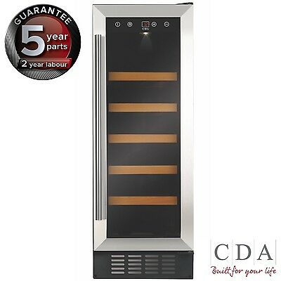 CDA FWC303SS 30cm F/Standing U/Counter Wine Cooler S/Steel {FREE RETURNS}