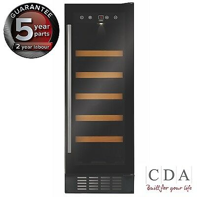 CDA FWC303BL 30cm Freestanding Under Counter Wine Cooler, Black