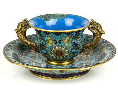 c1800 Chinese Gilded Cloisonné Teacup and Saucer