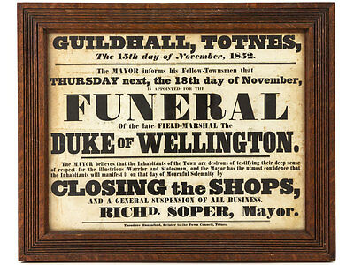 1852 Funeral Poster of the Duke of Wellington