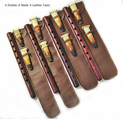 4 PRO DUDUK Armenian 8 REEDS 4 Leather Case Apricot Wood Armenia Oboe Flute Mey