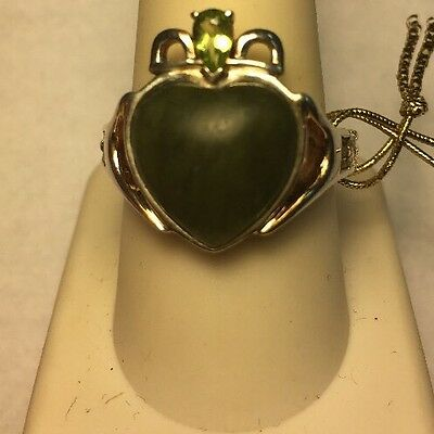 Claddagh Ring Connemara Marble Sterling Silver 925 Peridot accent Size 9.5