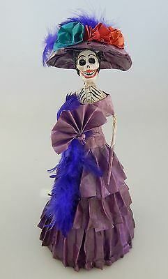 Catrina Mexican Feathers Doll Day of the Dead Paper Mache Folk Art 609