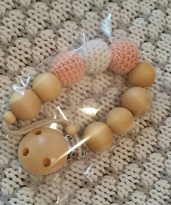 baby pacifier clip holder crochet teether soother wood beads