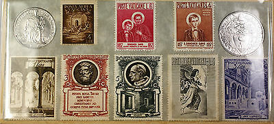 1942 1 and 2 Lire Vatican Brilliant Uncirculated Coin Souvenir Set with 8 Stamps
