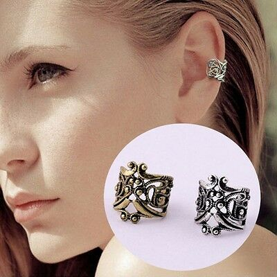 New Vintage Silver Ear Cuff Upper Helix Cartilage Clip-On Earring Rock Gothic Uk