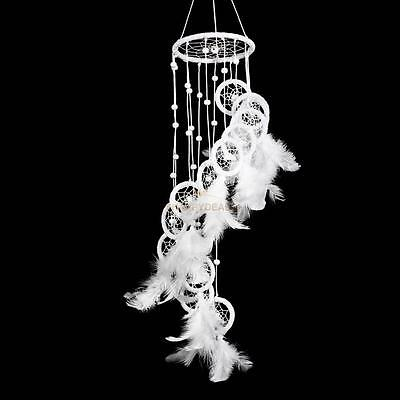 Large Handmade Dream Catcher With White Feathers Bead Kids Room Decor Ornament