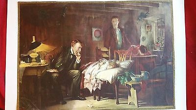 """Antique Color Unframed  Print """"Anxious Moments"""" Very Nice Yet Inexpensive  CHEAP"""