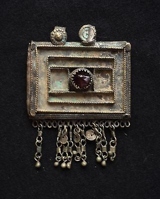 1800's C. Antique Bukhara Uzbek Pendant Amulet Case,  Ethnic Jewelry