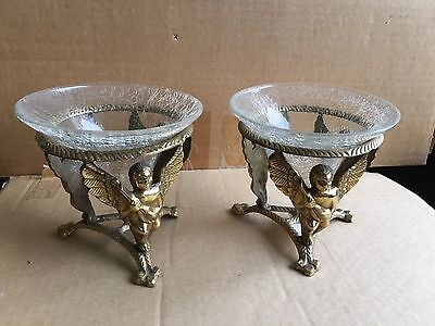 Vintage Antique brass Stand with removable clear glass insert