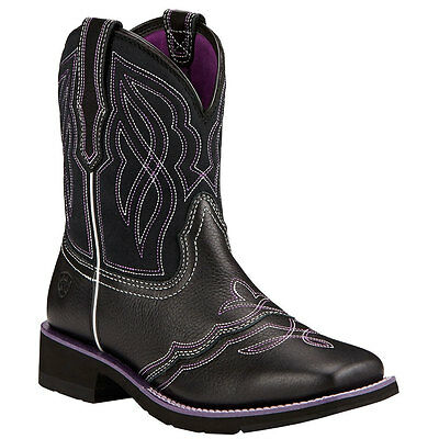 10017417 Ariat Ranchbaby II Square Toe Western Cowboy Boot Black & Purple NEW