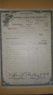 Very Humerous Authentic Vintage 1918 Champlain NY  Heroin Opium Order Is  !!