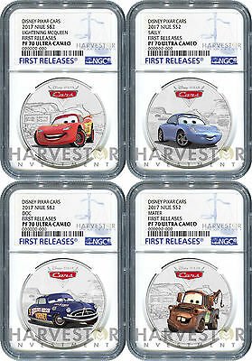 2017 Disney Pixar Cars: Complete 4-Coin Collection - Ngc Pf70 First Releases