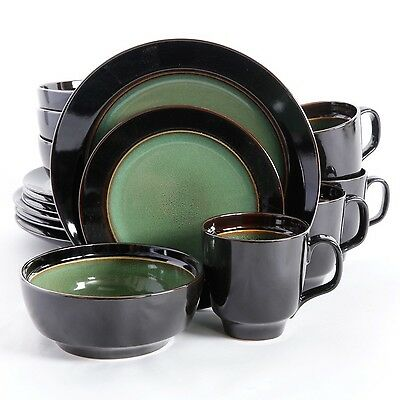 Gibson Home Bella Galleria 16 Piece Dinnerware Set Green/Black New