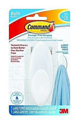 Command Large Towel Hook with Water-Resistant Strips (BATH17-EF) New