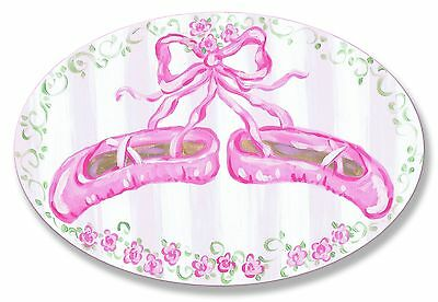 The Kids Room by Stupell Pink Ballerina Slippers Oval Wall Plaque New