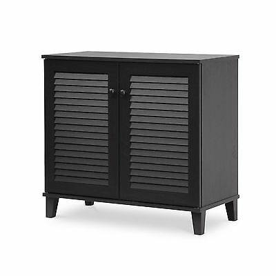 Baxton Studio Coolidge Shoe-Storage Cabinet Espresso New