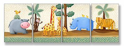 The Kids Room by Stupell Hippo Giraffe Thino and Tiger in the Jungle 4-Pc... New