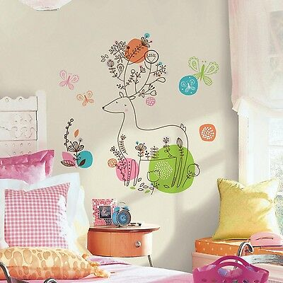 RoomMates RMK2720GM Zutano Pixie Deer Peel and Stick Giant Wall Decals New