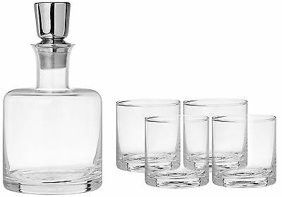 Fitz & Floyd Linus 5 Piece Whiskey Set Clear New