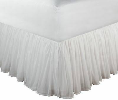 Greenland Home Fashions Cotton Voile 18-Inch  Bed Skirt Queen White New
