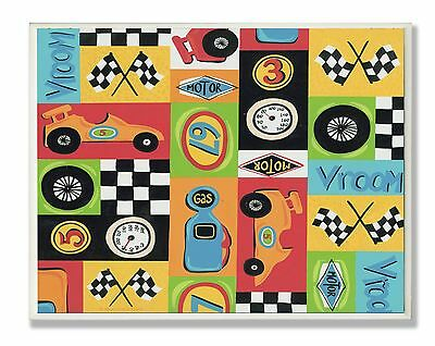 The Kids Room by Stupell Race Car Collage Rectangle Wall plaque New
