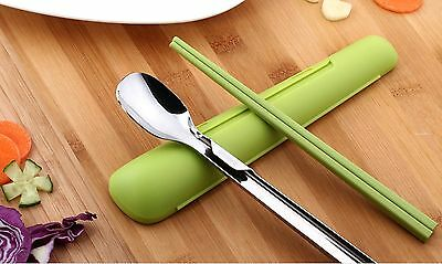 Pocket Size Chopstick & Spoon Set Lunch Box Kit with Case New