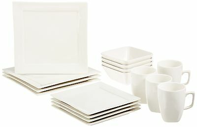 AmazonBasics 16-Piece Classic White Dinnerware Set Square Service for 4 New