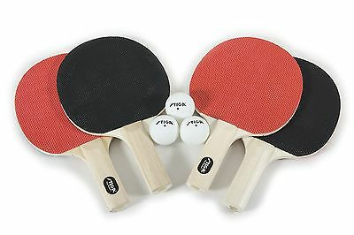 Stiga T1334 Classic 4-Player Table Tennis Racket Set New