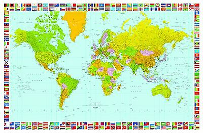 Ideal Dcor DM655 Map of the World 45-Inch-by-69-Inch mural New