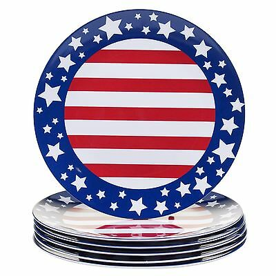 Certified International Corp Stars and Stripes Melamine Dinner Plate (Set... New