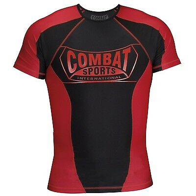 Combat Sports Rash Guard Red/Black Large New