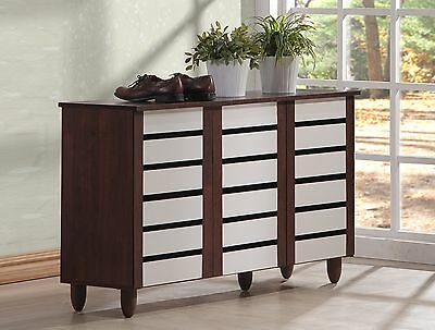 Baxton Studio Wholesale Interiors Gisela Oak and White 2-Tone Shoe Cabine... New