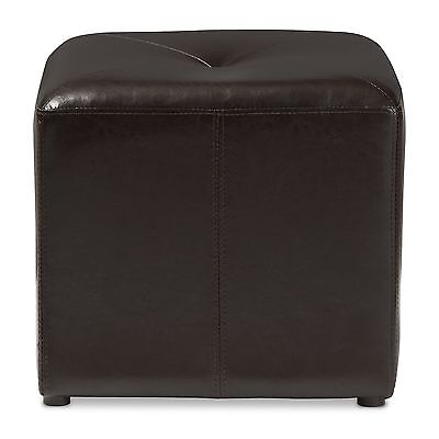 Baxton Studio Lave Cube-Shaped Bonded-Leather Ottoman Small Brown New