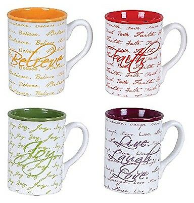 Gibson Home Inspirational Words Mugs (4 Pack) 16-Ounce Multicolor New