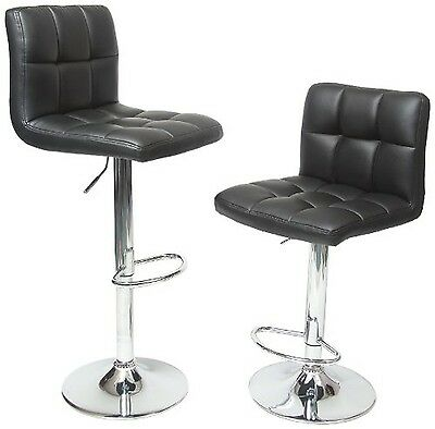 Roundhill Swivel Black Leather Adjustable Hydraulic Bar Stool Set of 2 New