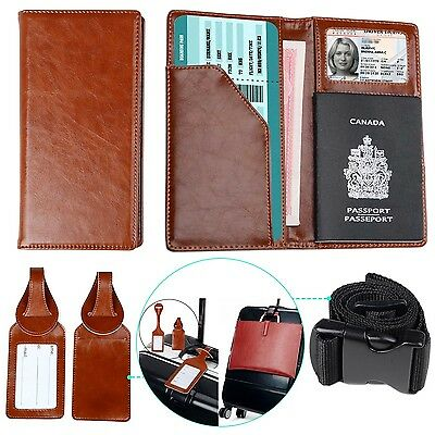 Passport Holder with 2 Matching Luggage Tags and Strap Brown New
