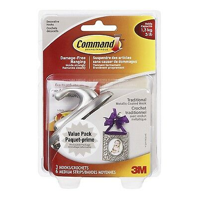 Command Traditional Brushed Nickel Medium Hook Value Pack 3 lb Capacity 3... New