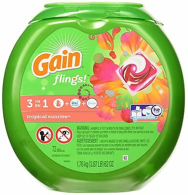 Gain Laundry Detergent Packs Tropical Sunrise 72 Count New