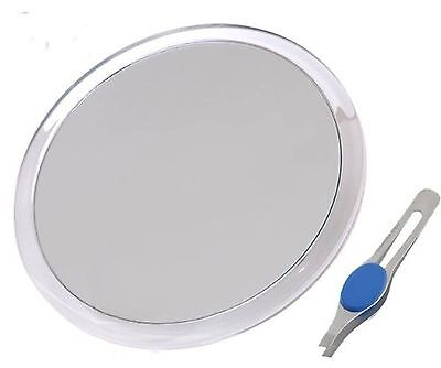 """DB-Tech Large 10"""" Suction Cup 5X Magnifying Mirror with Precision Tweezers New"""