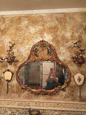 Wall Mirror with Painting Antique  Middle